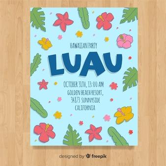 Modelo de cartaz de luau de flores desenhadas mão