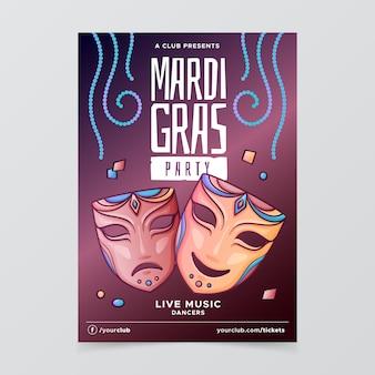 Modelo de cartaz de mão desenhada mardi gras