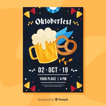 Modelo de cartaz de mão desenhada oktoberfest