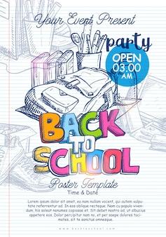 Modelo de cartaz de mão desenhada volta para escola