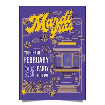 Modelo de cartaz de mardi gras de design plano