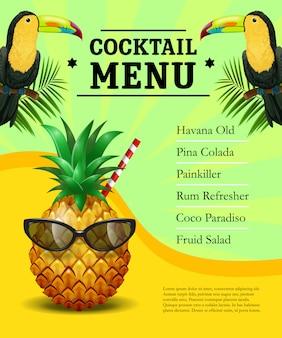 Modelo de cartaz de menu de coquetel. abacaxi em óculos de sol, tucanos, folhas de palmeira