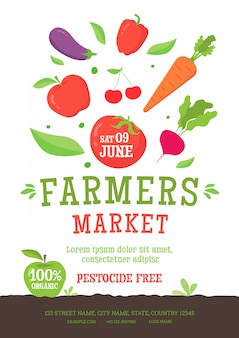Modelo de cartaz de mercado de agricultores com alimentos orgânicos vegetais.