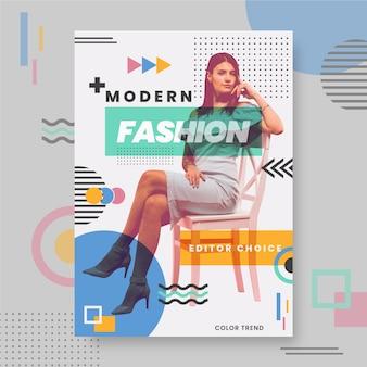 Modelo de cartaz de moda colorida com foto