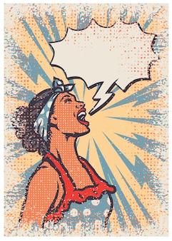 Modelo de cartaz de mulher vintage pop art, ilustração vetorial