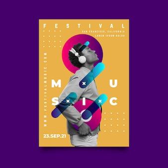Modelo de cartaz de música abstrata com foto