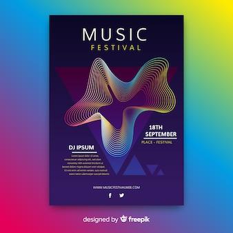 Modelo de cartaz de música abstrata