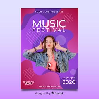 Modelo de cartaz de música colorido abstrato com foto
