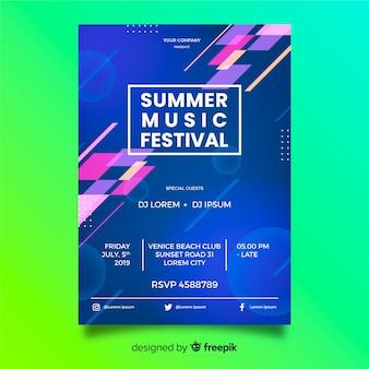 Modelo de cartaz de música de forma geométrica