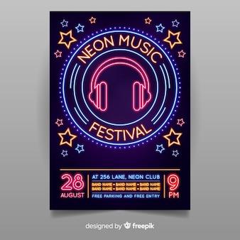 Modelo de cartaz de música de luz néon