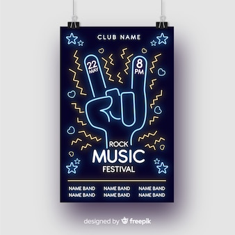 Modelo de cartaz de música de luzes de néon