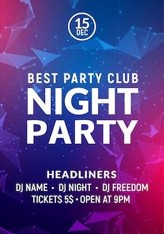 Modelo de cartaz de música de noite de dança de festa. convite de panfleto de evento de festa clube de concerto estilo electro.