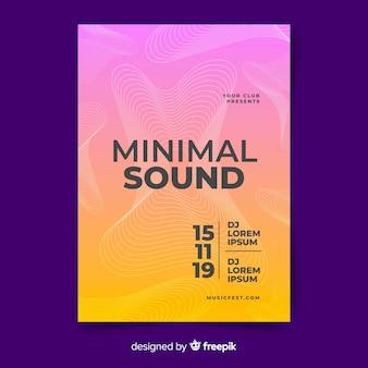 Modelo de cartaz de música de onda sonora