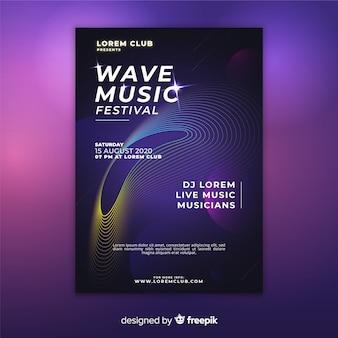 Modelo de cartaz de música de ondas abstratas coloridas