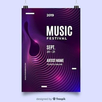 Modelo de cartaz de música de ondas abstratas