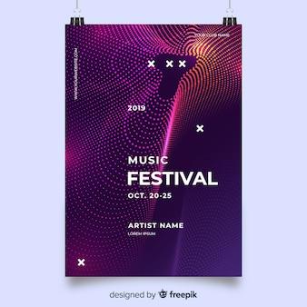 Modelo de cartaz de música de ondas roxas