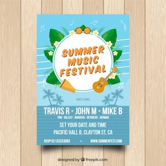 Modelo de cartaz de música de verão