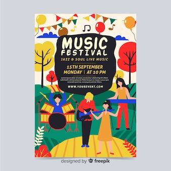 Modelo de cartaz de música desenhada mão