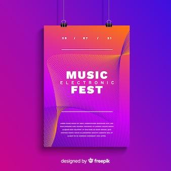 Modelo de cartaz de música eletrônica abstrata