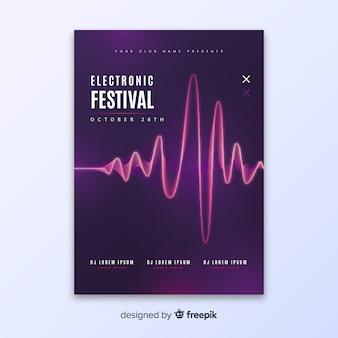 Modelo de cartaz de música eletrônica de onda abstrata