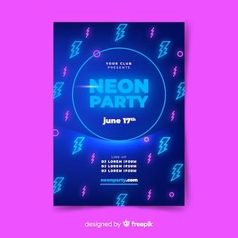 Modelo de cartaz de música em estilo neon