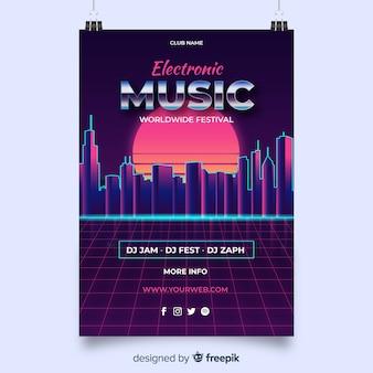 Modelo de cartaz de música futurista retrô