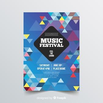 Modelo de cartaz de música geométrica colorida