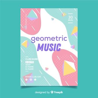Modelo de cartaz de música geométrica