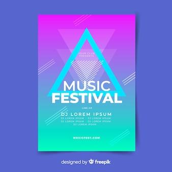 Modelo de cartaz de música gradiente abstrata