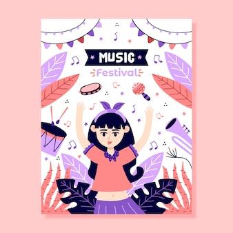 Modelo de cartaz de música ilustrado design