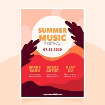 Modelo de cartaz de música ilustrado