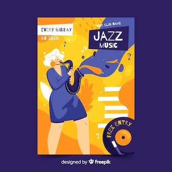 Modelo de cartaz de música jazz desenhado à mão