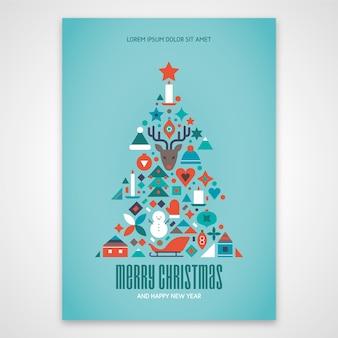 Modelo de cartaz de natal com formas geométricas coloridas