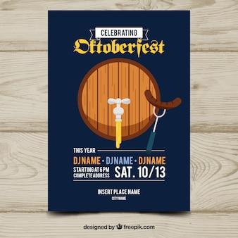 Modelo de cartaz de oktoberfest clássico com design plano