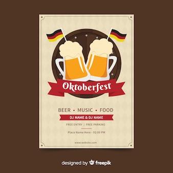 Modelo de cartaz de oktoberfest design plano
