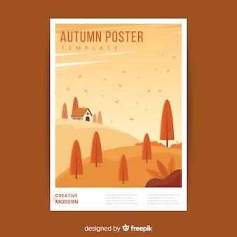 Modelo de cartaz de outono desenhada de mão