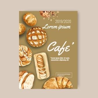 Modelo de cartaz de padaria. coleção de pão e pão. caseiro