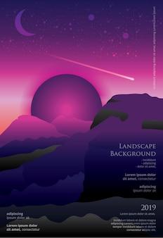 Modelo de cartaz de paisagem design gráfico