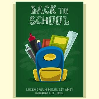 Modelo de cartaz de panfleto de escola dos desenhos animados com texto de giz