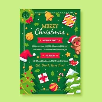 Modelo de cartaz de panfleto de natal em design plano