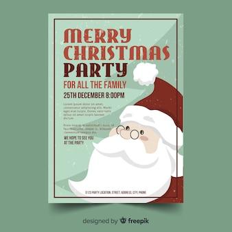 Modelo de cartaz de papai noel vintage festa de natal