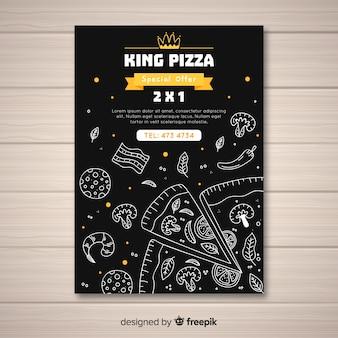Modelo de cartaz de pizza desenhada de mão