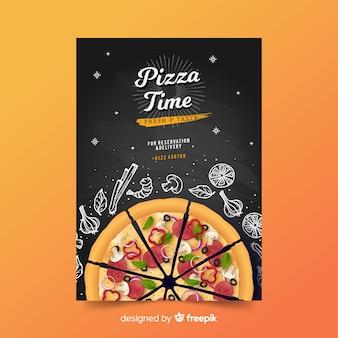 Modelo de cartaz de pizza doodle