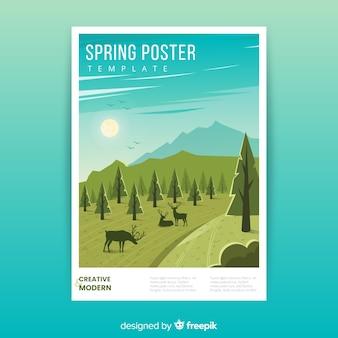 Modelo de cartaz de primavera desenhada mão