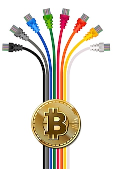 Modelo de cartaz de publicidade bitcoin.