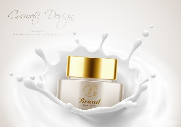 Modelo de cartaz de publicidade de produtos cosméticos, frasco de creme para a pele de beleza em respingo de leite. maquete de pacote. ilustração em vetor 3d realista