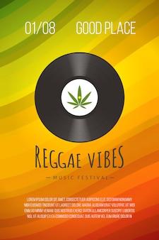 Modelo de cartaz de reggae com disco de vinil