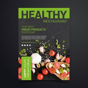 Modelo de cartaz de restaurante de comida saudável com foto