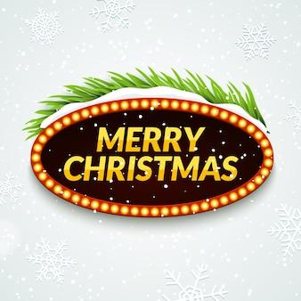 Modelo de cartaz de sinal retro de festa de natal com neve e galho de árvore. decoração de saudação de quadro de natal.