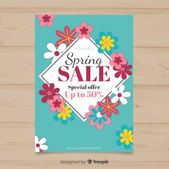 Modelo de cartaz de venda de primavera de diamante floral